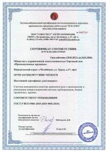 Сертификат ISO Промышленные пружины